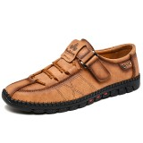 Men Hand Stitching Microfiber Leather Comfy Lace Up Hook&Loop Casual Oxfords
