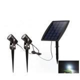 Solar Powered 2 in 1 LED Light Waterproof Light-controlled Sensor Spotlights Outdoor Garden Lawn Yard Porch Walkway Lamps