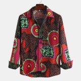 Mens Ethnic Printing Loose Turndown Collar Long Sleeve Casual Shirts