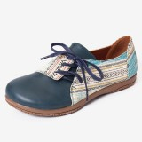 LOSTISY Women Plus Size Printed Slip Resistant Lace Up Flats Casual Shoes