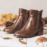 Women Large Size Retro Chunky Heel Casual Zipper Ankle Short Boots