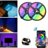 DC5V Non-waterproof 0.5m 2m 3m 5m 5050 bluetooth APP Control RGB USB LED Strip Light KTV Hotel Home Decor