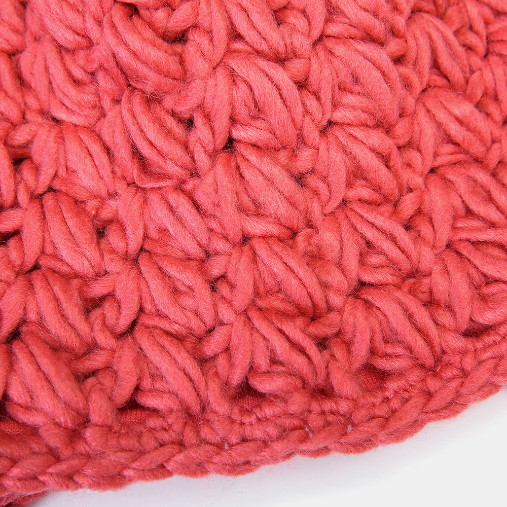 Women's Beanie Solid Color Warm Knitted Hat Small Caps With Rose Pompon Hat