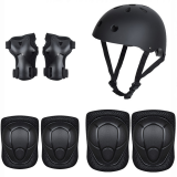 Children's Skating Riding Safety Protective Helmet Protective Gear Wrist Guards Elbow Knee Pads Rock Climbing 7 Sets Black