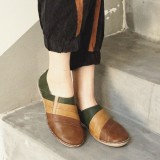 Casual Color Stitching Slip On Soft Sole Leather Walking Loafers