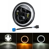 "7"" 75W 6000K DRL Amber Halo Angle Eyes Projector LED Round Headlights Hi/Lo Beam Turn signal Light For Harley/Yamaha/Jeep"