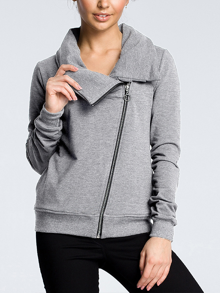 Women Casual Pure Color Zipper Long Sleeve Coats