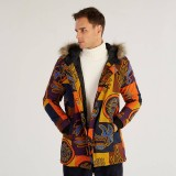 Mens Cotton Printing Hooded Thickened Windproof Fashion Mid Long Coats