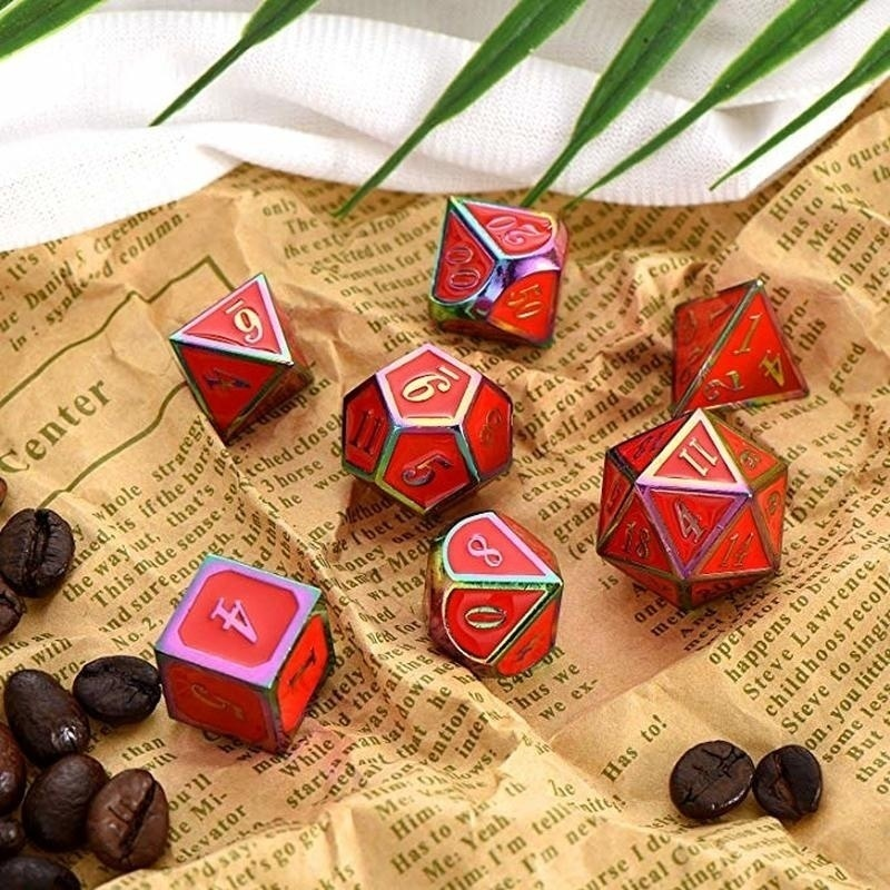 7Pcs/Set Rainbow Edge Metal Dice Set with Bag Board Role Playing Dragons Table Game Bar Party Game Dice Hobbies Toy Gift