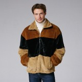Mens Fashion Patchwork Turn Down Collar Hit Color Thick Casual Jacket