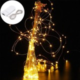 LUSTREON DC3V Warm White Yellow 2M Silver Wire Auto Turn On LED String Light for Christmas Holiday Vase Decor