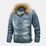 Mens Fashion 100% Cotton Pockets Denim Fleece Thickened Stand Collar Casual Jacket