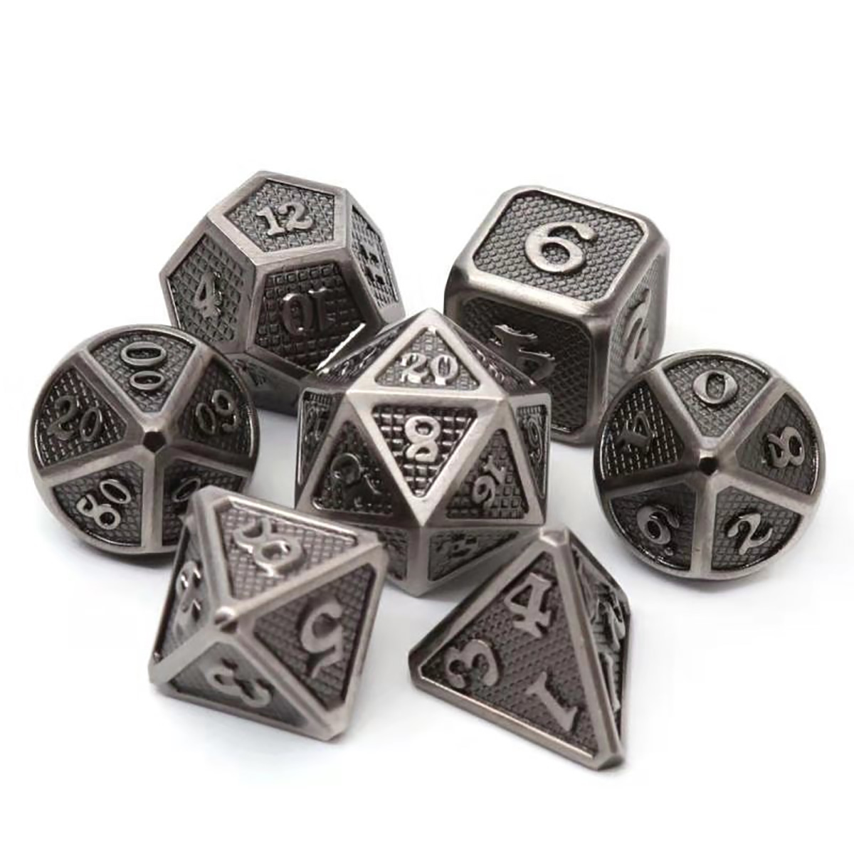 7 Pcs/Set Alloy Metal Dice Set Playing Game Poker Card Dungeons Dragons Party Board Game Toy