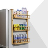 2/3/4 Tiers Bamboo Refrigerator Side Storage Rack Wall Hanging Shelf Kitchen Organizer