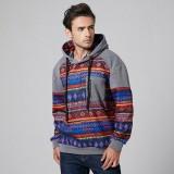 Mens Casual Printing Hooded Practical Pocket Drawstring Casual Sweatshirt