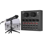 USB Sound Card Microphone with Tripod Audio Cable Earphone for Broadcast Live Streaming for Tik Tok YY Karaoke Singing