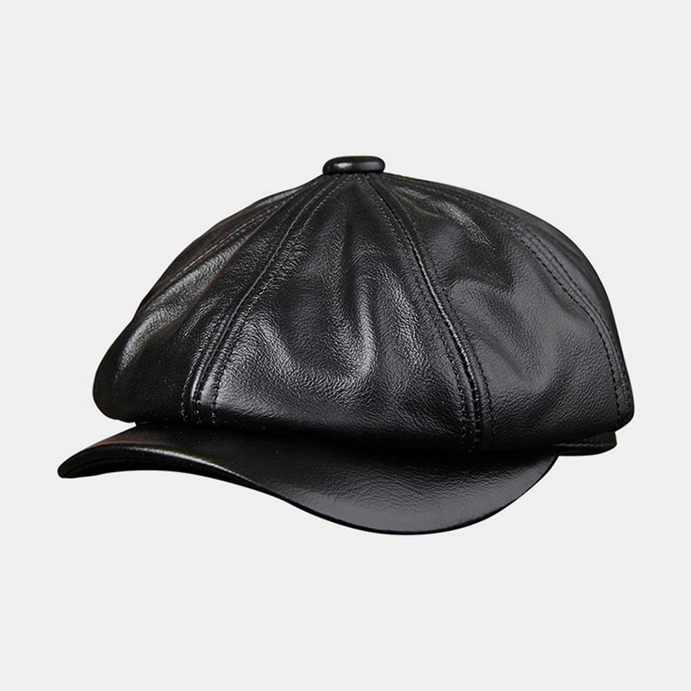 Men Cowhide Leather Hat Tide Navy Beret Octagonal Caps Beret Caps