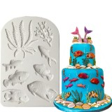 3D Sea Coral Fish Silicone Mold Fondant Mold Cake Decorating Tools Mould