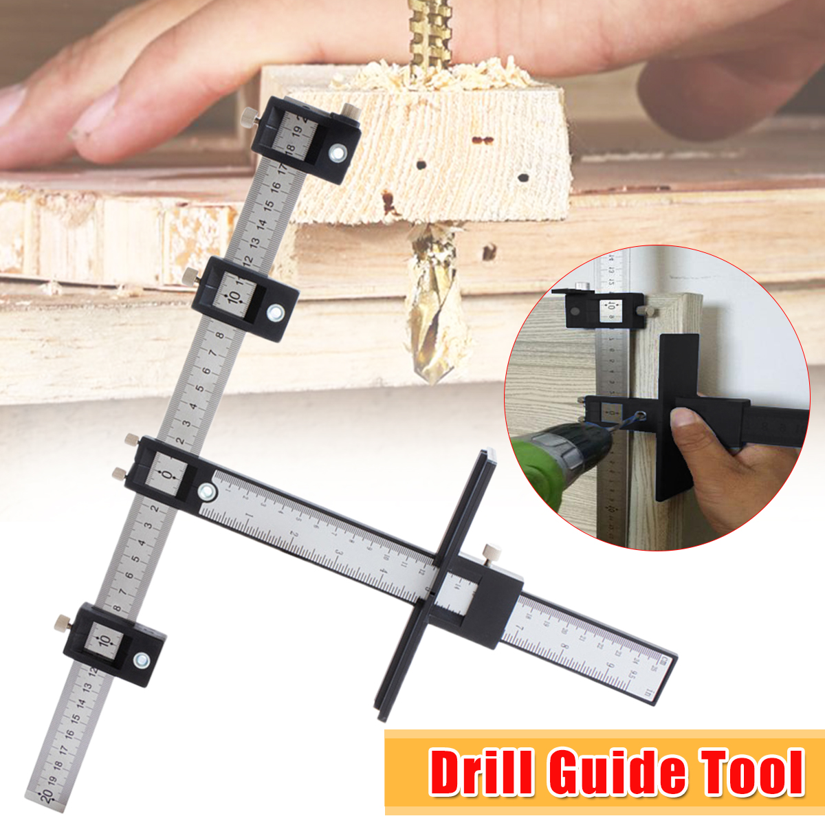 Woodworking Drilling Dowelling Hole Saw Adjustable Drill Locator Guide Tools Set