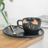 200ML Cat Gold Ceramic Coffee Cup Dish Restaurant With Dish Water Cup Office Cup Tea Cup