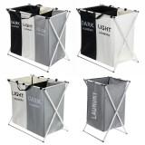 3 Grids Foldable Clothes Storage Hamper Baskets Organizer Laundry Bag
