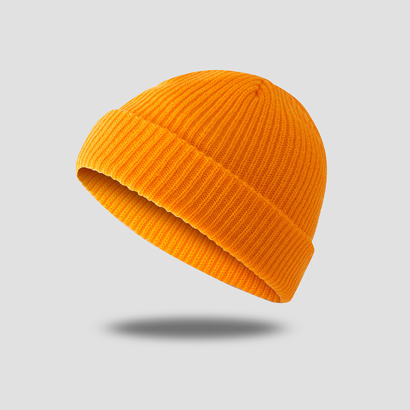 Unisex Solid Color Knitted Wool Hat Skull Caps Beanie Brimless Hats