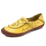 Women Genuine Leather Plus Size Breathable Hollow Out Soft Sole Casual Flats Loafers