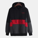 Mens Autumn Winter Patchwork Hooded Thick Long Sleeve Casual Sweatshirt