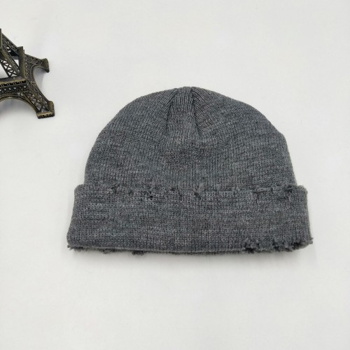 Ripped Knitted Landlord Hat Pure Color Wool Hat Frayed Melon Hat Cold Caps Beanie