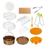 "12Pcs Set 7""/8"" Non-stick Air Fryer Accessories Gold Set Baking Cooking Barrel"