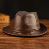 Mens Leather Hat Cowhide Hat Outdoor Leather Hat Jazz Hat Gentleman Cowboy Hat