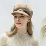 Pure Wool Flat Hats Navy Hat British Style Chain Octagonal Hat Beret Flat Hats