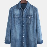 Mens Vintage Stripe Double Pockets Denim Long Sleeve Casual Shirts