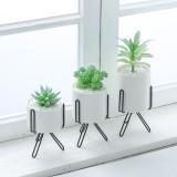 Iron Wire Metal Rack Ceramic Succulent Plant Flower Pot Cactus Holder Home Office Desktop Decor