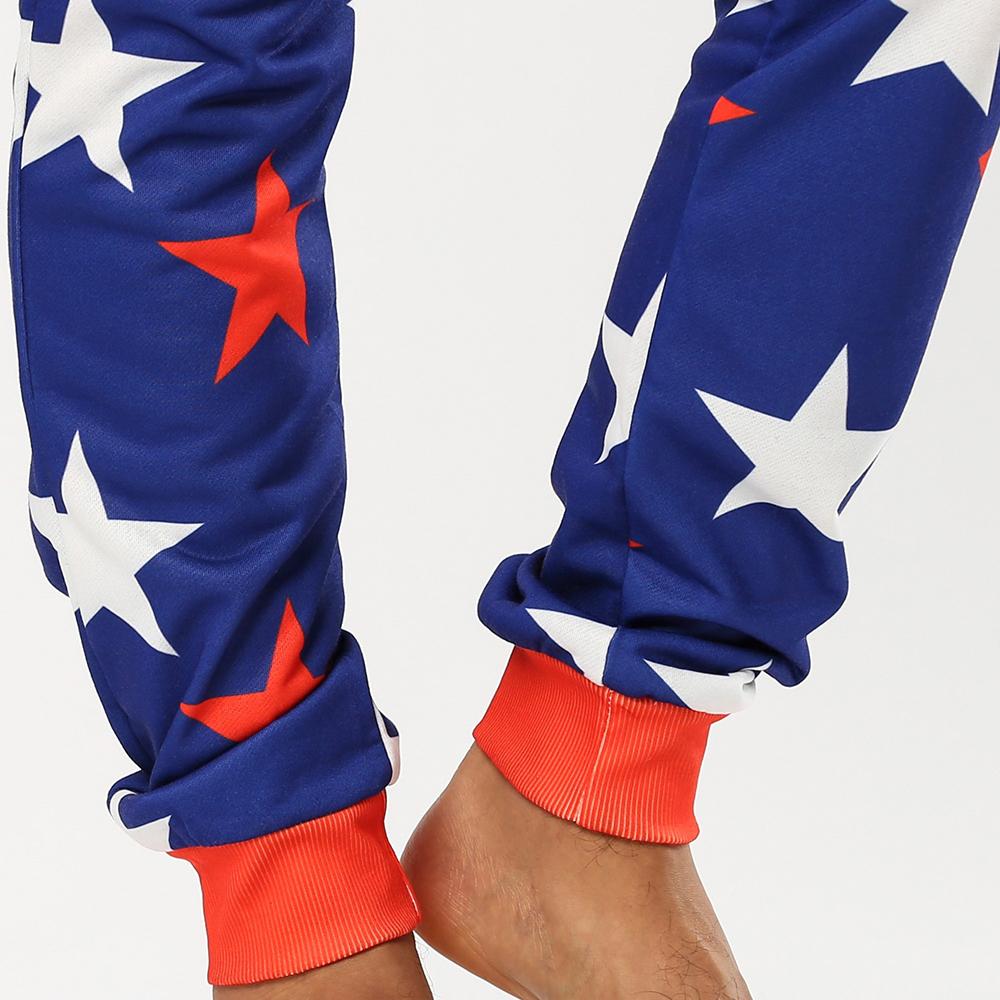 Men Funny Stars Printing Onesies Hooded Jumpsuit Loungewear Home Zip Down Long Sleeve Pajamas