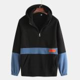 Mens Patchwork Cotton Hooded Sport Thick Half Zipper Casual Sweatshirt
