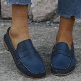 Women Large Size Comfy Soild Slip On Casual Flats Loafers