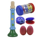 4-piece Set Orff Musical Instruments Sand Eggs/Rain Ring/Small Horn/Plastic Castanets for Children