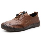Men Microfiber Leather Stitching Slip Resistant Soft Walking Casual Flats