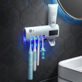 Solar Charging Infrared Toothbrush Sterilizer Holder Automatic Toothpaste Dispenser Magnetic Suction Cup