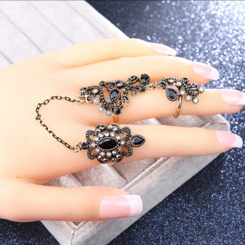 Vintage Geometric Openwork Stereoscopic Flower Rings Gold Plated Rhinestone Adjustable Double Ring
