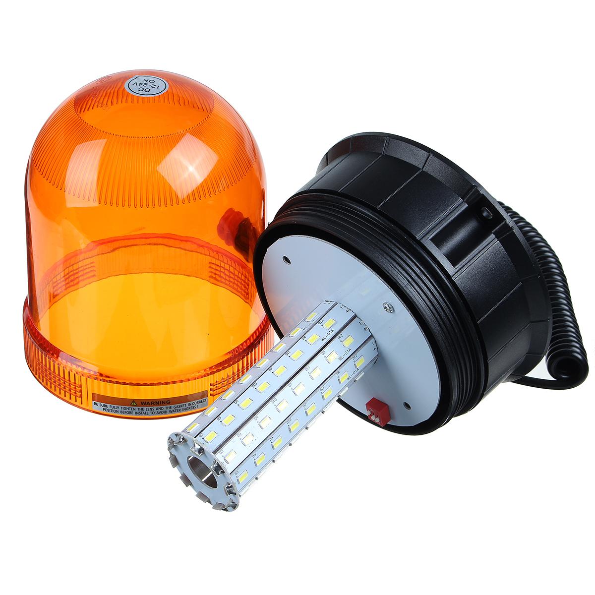 DC12-24V 80LEDs Magnetic Roof Rotating Flash Amber Beacon Strobe Tractor Warning Signal Light