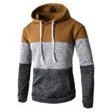Mens Casual Hooded Drawstring Sweatshirt Long Sleeve Patchwork Hoodies