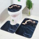 3PCS Non-Slip Bathroom Washable Carpet Animal Bathroom Rug Toilet Cover Mat