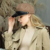Pure Wool Flat Hats Navy Hat British Style Chain Octagonal Hat Beret