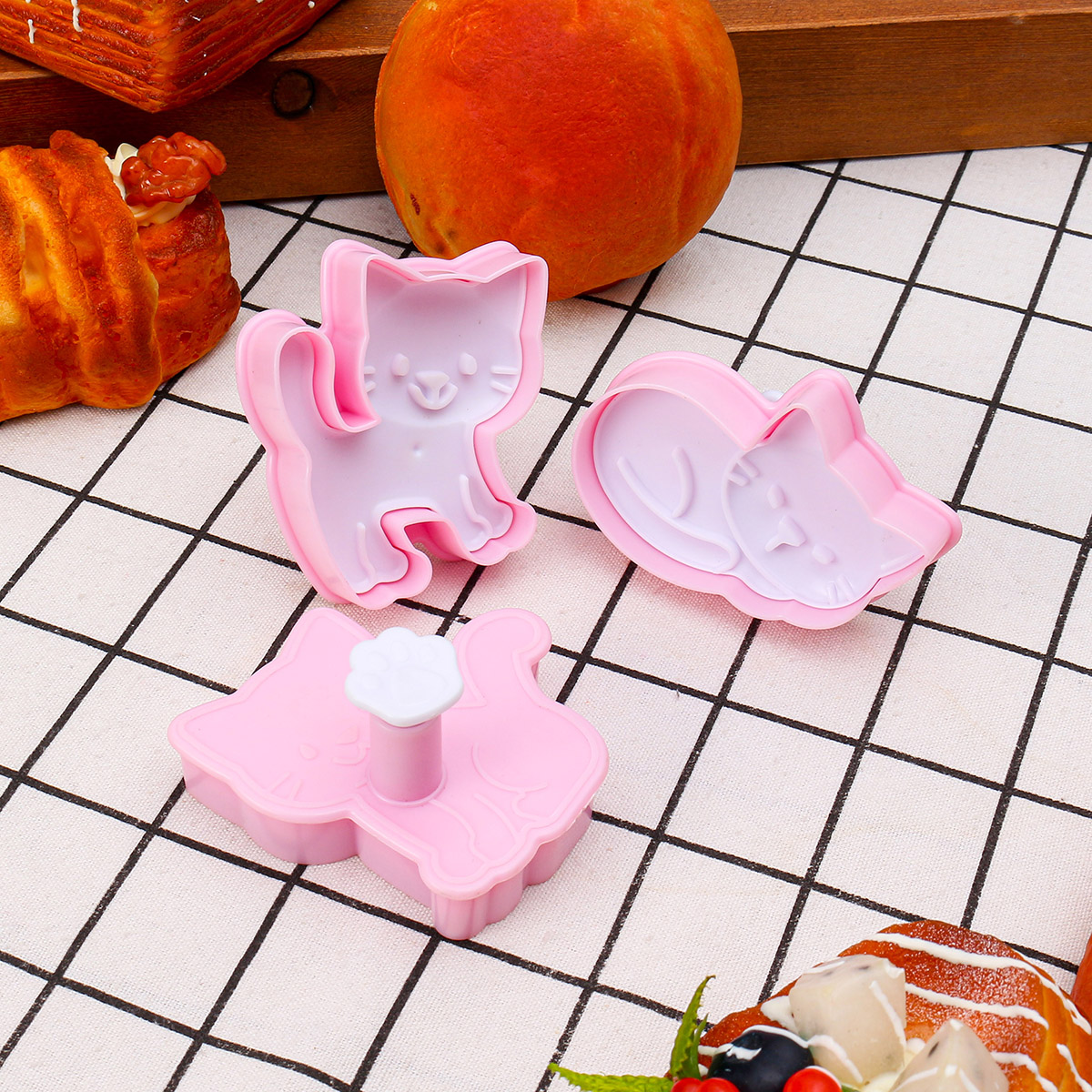 3Pcs/Set Cat Cookie Biscuit Plunger Cutter Fondant Cake Mold Baking Mould Kitchen Tools