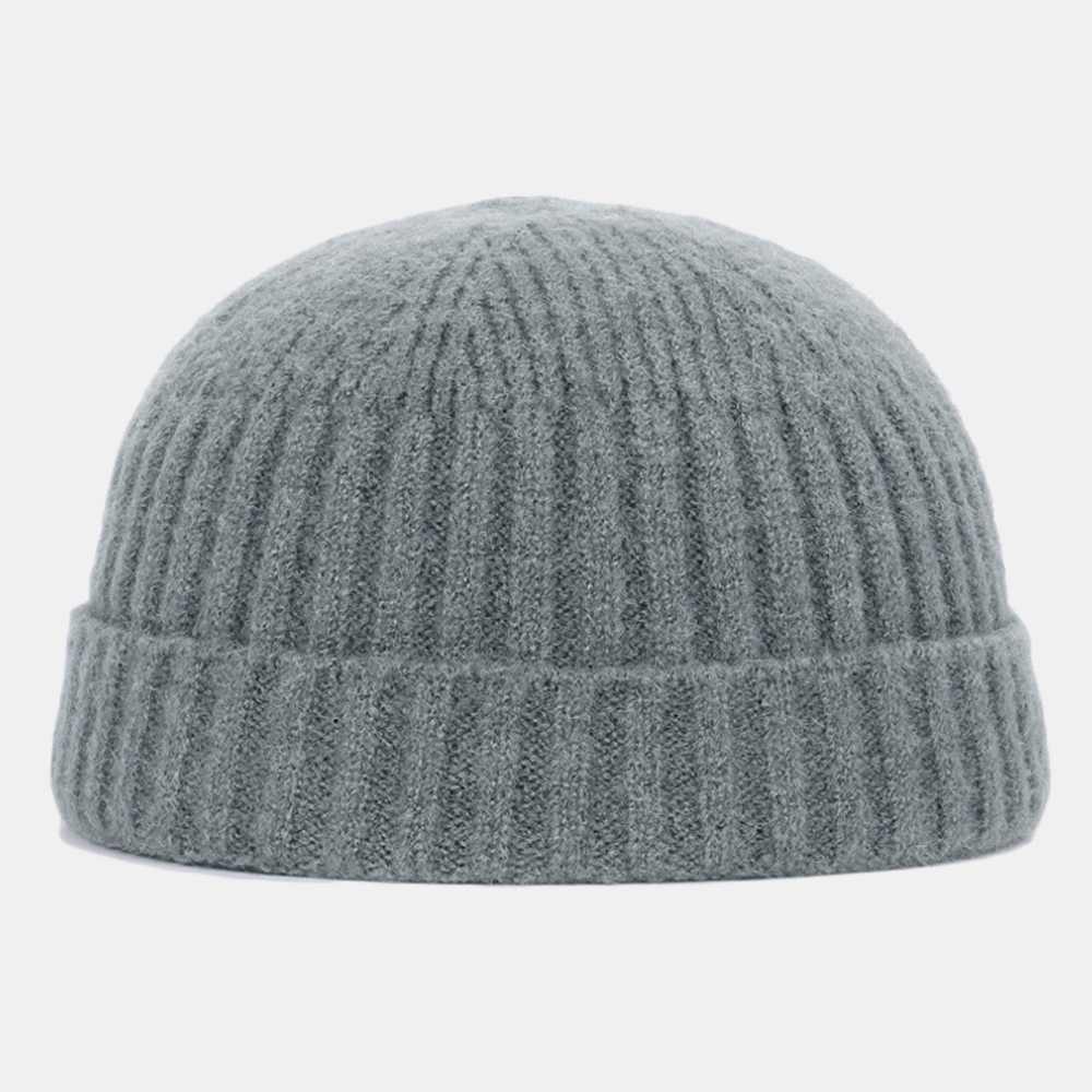 Men Women Solid Color Knitted Wool Hat Skull Cap Beanie Brimless Hats