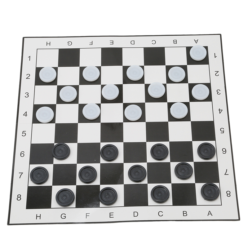 International Checkers Portable Folding Plastic Chess Game Board Size 33*33cm + 24pcs Chess