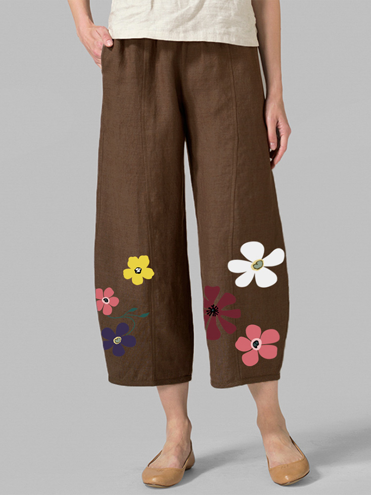 Plus Size Flowers Print Elastic Waist Casual Cotton Pants
