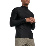 Mens Fashion High Collar Solid Color Long Sleeve Casual Shirts